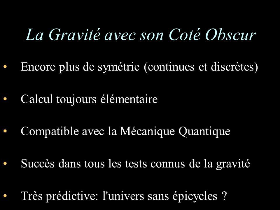 La Gravité avec son Coté Obscur Encore plus de symétrie (continues et discrètes) Calcul toujours élémentaire Compatible avec la Mécanique Quantique Succès dans tous les tests connus de la gravité Très prédictive: l univers sans épicycles