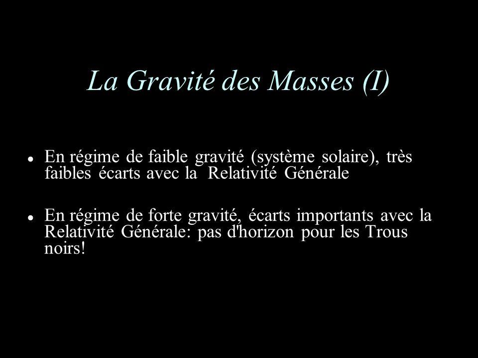 La Gravité des Masses (I) En régime de faible gravité (système solaire), très faibles écarts avec la Relativité Générale En régime de forte gravité, écarts importants avec la Relativité Générale: pas d horizon pour les Trous noirs!