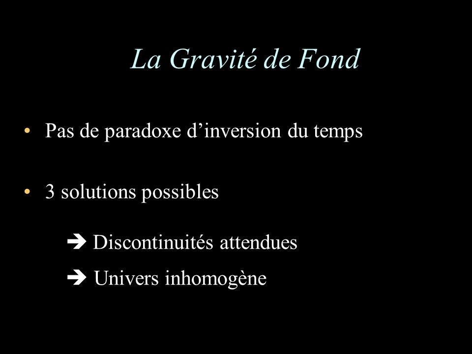 La Gravité de Fond Pas de paradoxe dinversion du temps 3 solutions possibles Discontinuités attendues Univers inhomogène