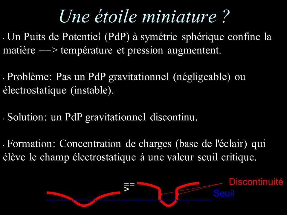Un Puits de Potentiel (PdP) à symétrie sphérique confine la matière ==> température et pression augmentent.