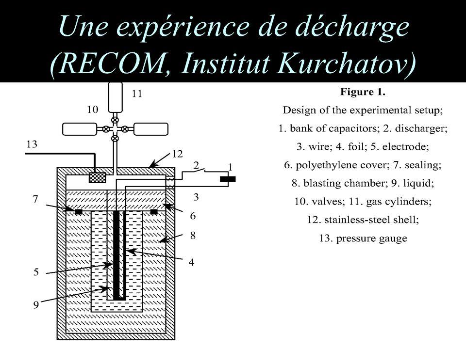 Une expérience de décharge (RECOM, Institut Kurchatov)