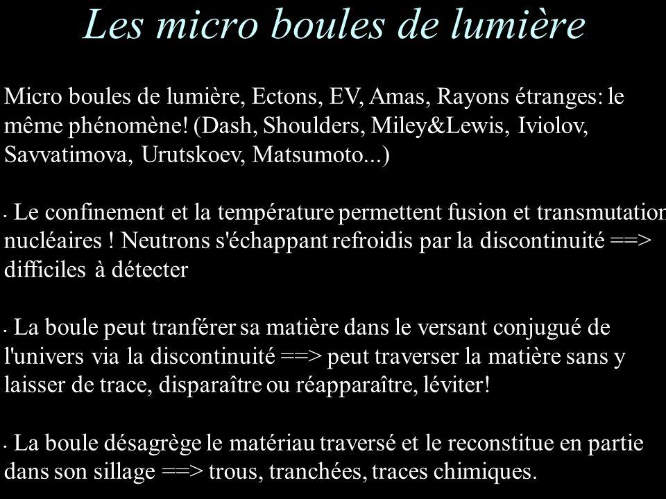 Les micro boules de lumière Micro boules de lumière, Ectons, EV, Amas, Rayons étranges: le même phénomène.
