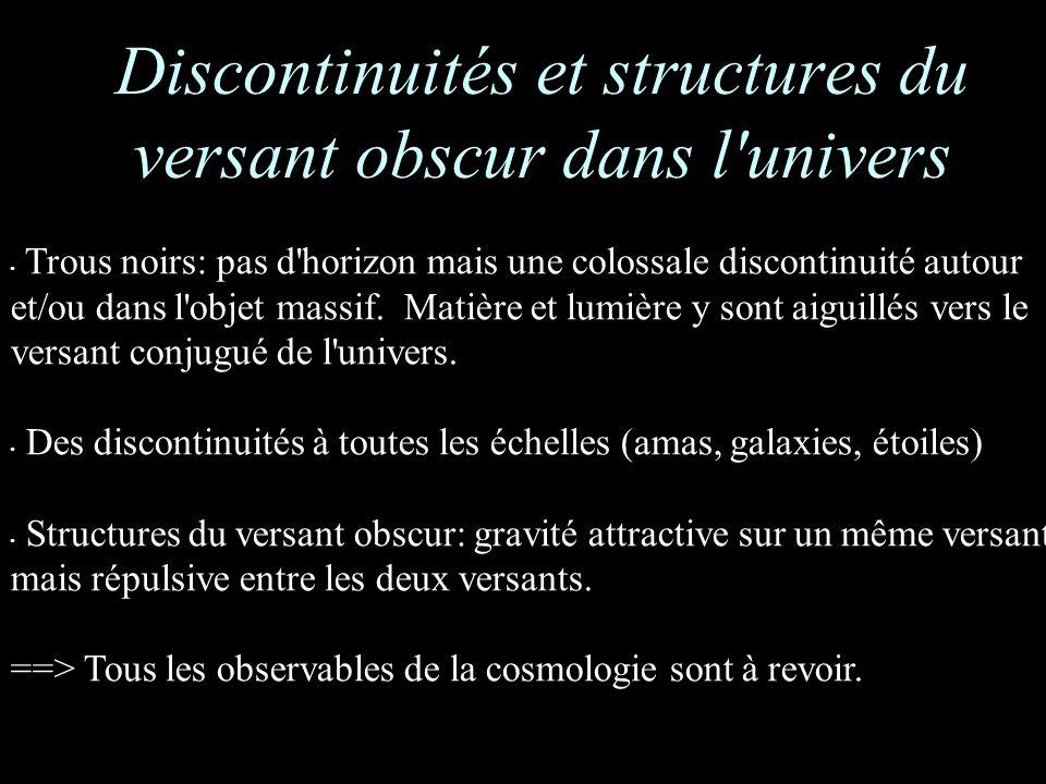 Trous noirs: pas d horizon mais une colossale discontinuité autour et/ou dans l objet massif.