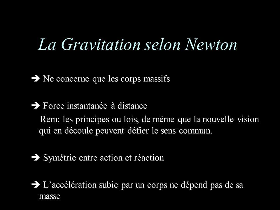 La Gravitation selon Newton Ne concerne que les corps massifs Force instantanée à distance Rem: les principes ou lois, de même que la nouvelle vision qui en découle peuvent défier le sens commun.