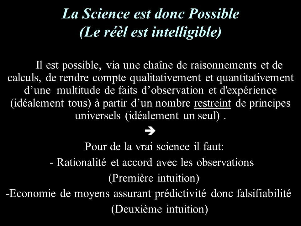 La Science est donc Possible (Le réèl est intelligible) Il est possible, via une chaîne de raisonnements et de calculs, de rendre compte qualitativement et quantitativement dune multitude de faits dobservation et d expérience (idéalement tous) à partir dun nombre restreint de principes universels (idéalement un seul).