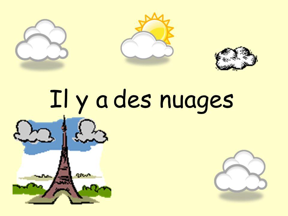 Il fait chaud Pau Il fait froid Troyes Il y a du soleil Marseille Il y a du vent Caen Il y a des orages Varages Il y a du brouillard Issoire Il y a des nuages Renage