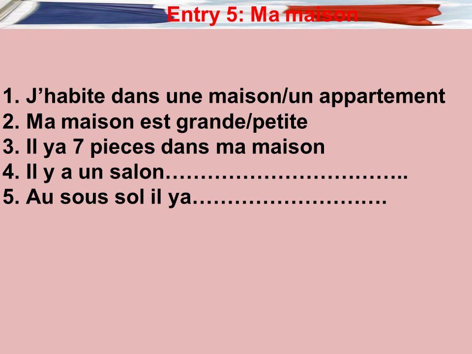 Entry 4: Mon style cet ete Cet ete je vais porter : 1.Un short………………… 2.…………………………….. 3.…………………………………. 4.……………………………………………. 5.……………………………………………….. Un