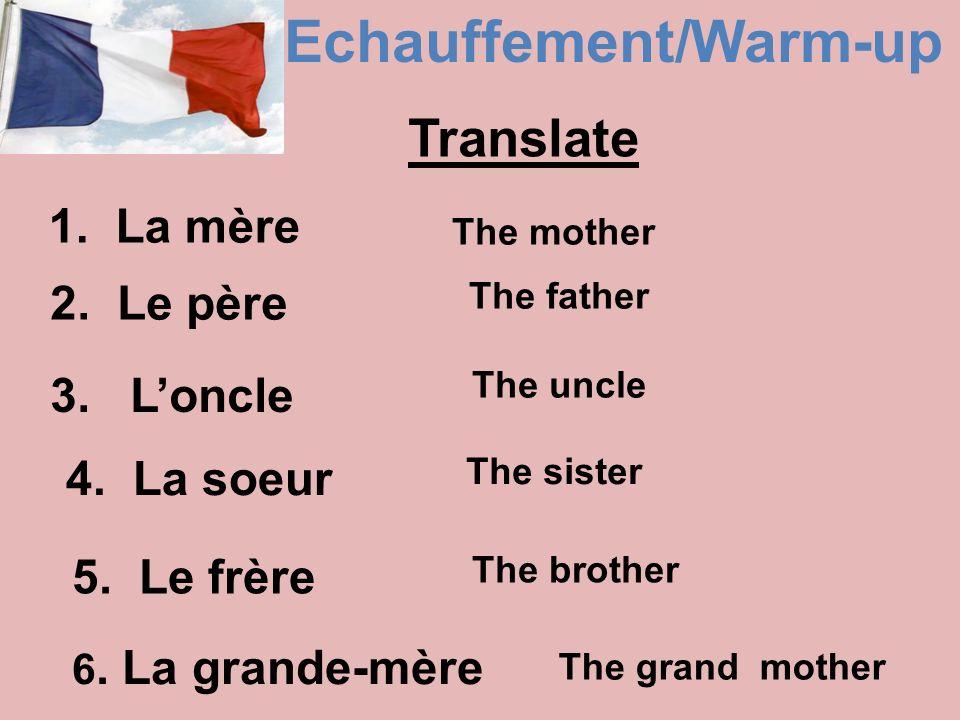 Echauffement/Warm-up 1.La mère 2. Le père 3. Loncle 4.