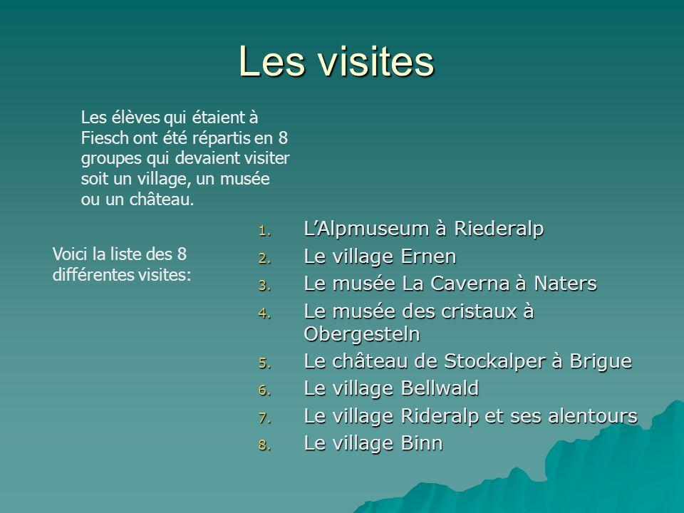 Les visites 1. L Alpmuseum à Riederalp 2. L e village Ernen 3. L e musée La Caverna à Naters 4. L e musée des cristaux à Obergesteln 5. L e château de