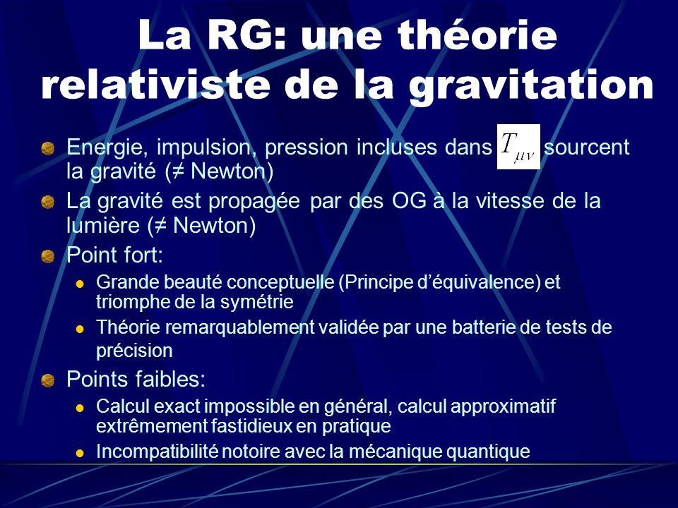 La RG: une théorie relativiste de la gravitation Energie, impulsion, pression incluses dans sourcent la gravité ( Newton) La gravité est propagée par