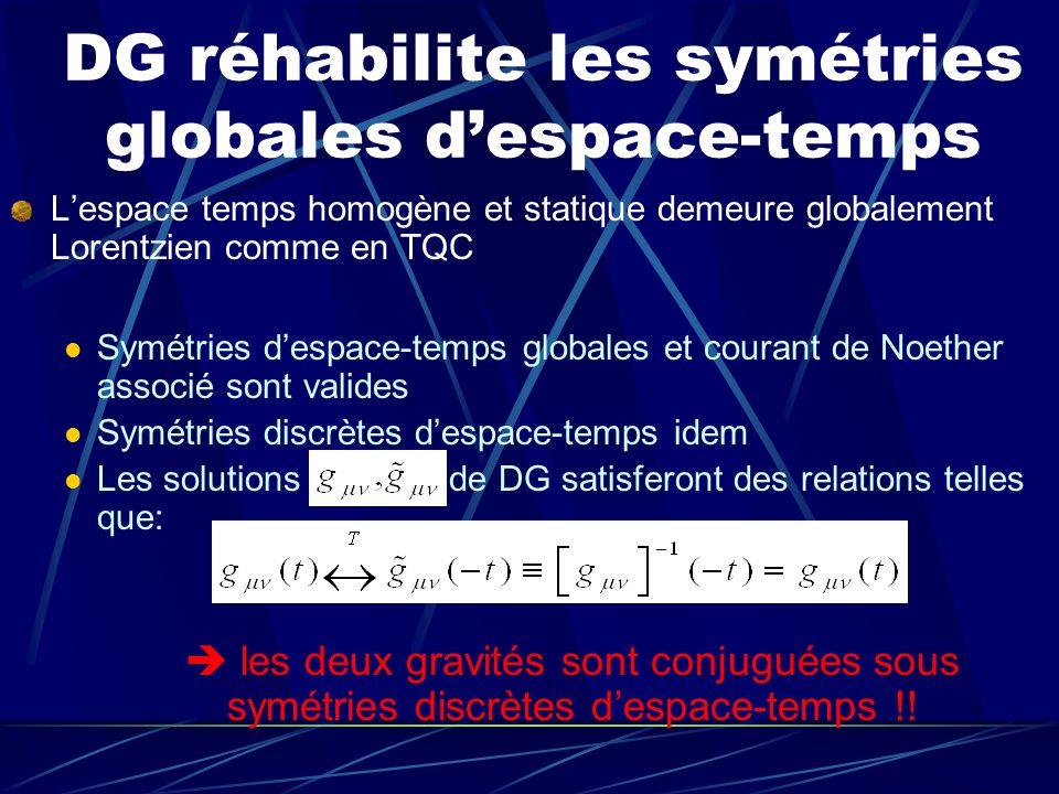 DG réhabilite les symétries globales despace-temps Lespace temps homogène et statique demeure globalement Lorentzien comme en TQC Symétries despace-te