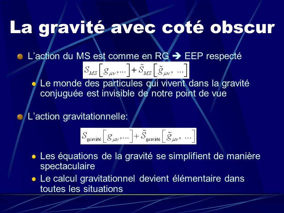 La gravité avec coté obscur Laction du MS est comme en RG EEP respecté Le monde des particules qui vivent dans la gravité conjuguée est invisible de n