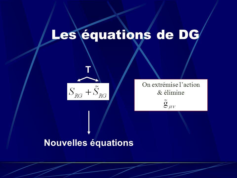 Les équations de DG T Nouvelles équations On extrémise laction & élimine