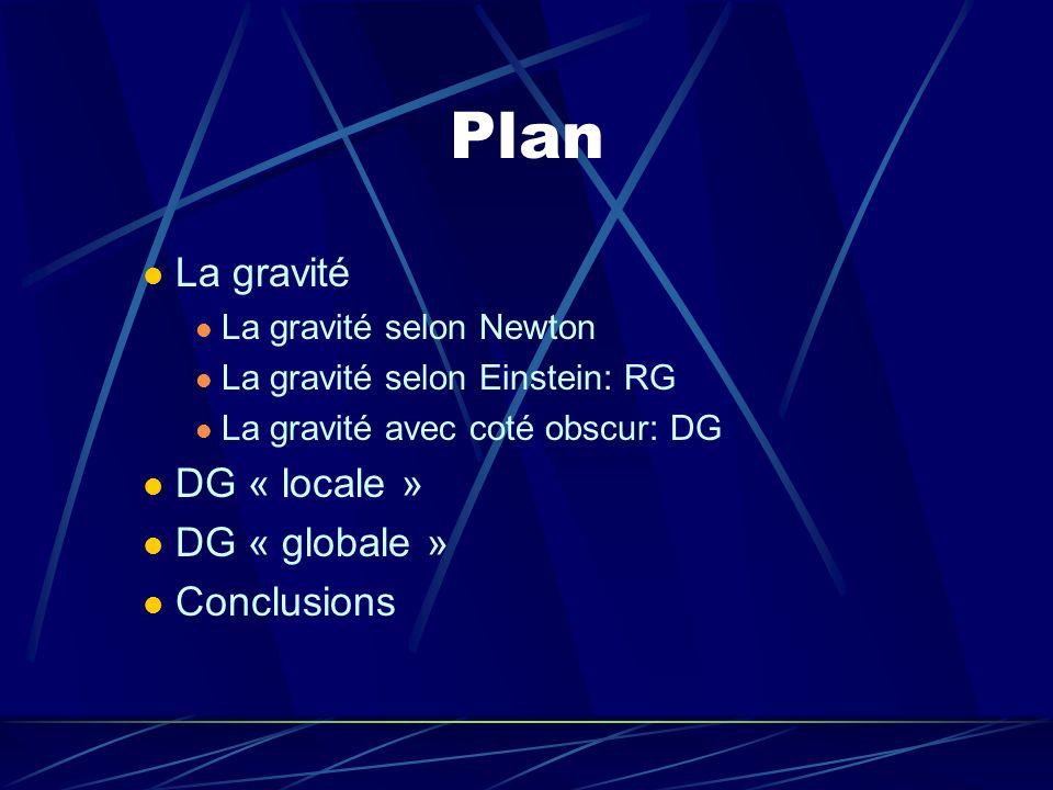 Plan La gravité La gravité selon Newton La gravité selon Einstein: RG La gravité avec coté obscur: DG DG « locale » DG « globale » Conclusions