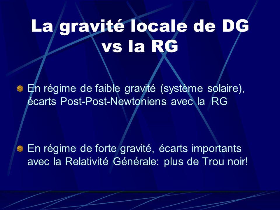 La gravité locale de DG vs la RG En régime de faible gravité (système solaire), écarts Post-Post-Newtoniens avec la RG En régime de forte gravité, éca