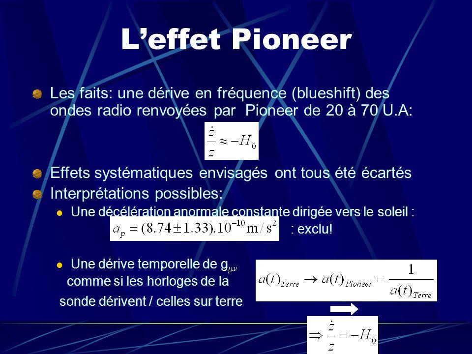 Leffet Pioneer Les faits: une dérive en fréquence (blueshift) des ondes radio renvoyées par Pioneer de 20 à 70 U.A: Effets systématiques envisagés ont
