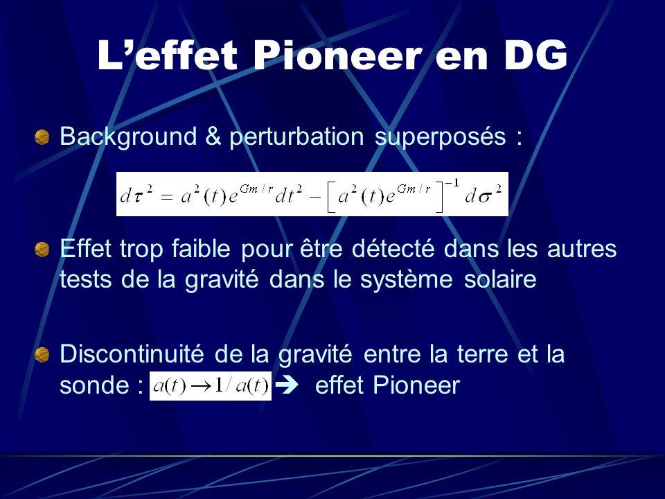 Leffet Pioneer en DG Background & perturbation superposés : Effet trop faible pour être détecté dans les autres tests de la gravité dans le système so