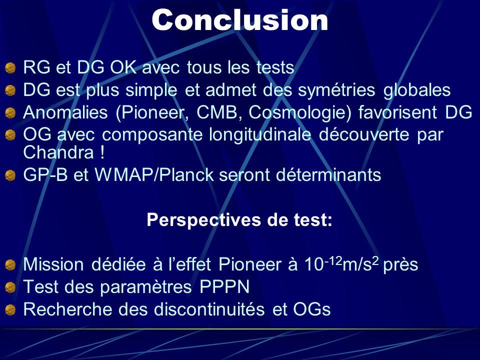 Conclusion RG et DG OK avec tous les tests DG est plus simple et admet des symétries globales Anomalies (Pioneer, CMB, Cosmologie) favorisent DG OG av