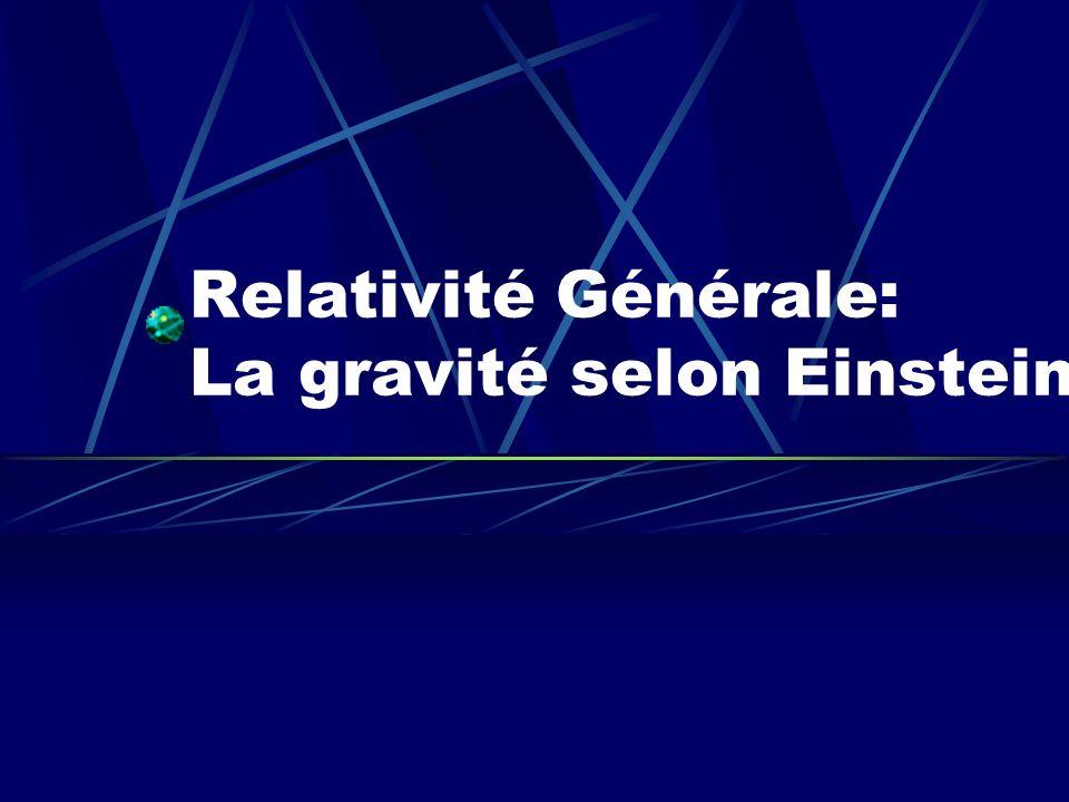 Lintuition physique: Le principe déquivalence Gravitation = Accélération Il est possible de supprimer localement les effets de la gravitation en passant dans un système de coordonnées accéléré: 1.