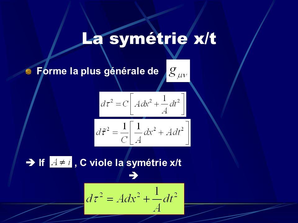 La symétrie x/t Forme la plus générale de If, C viole la symétrie x/t