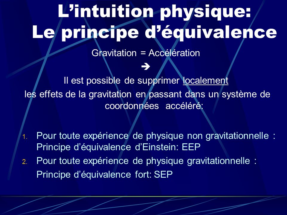 Lintuition physique: Le principe déquivalence Gravitation = Accélération Il est possible de supprimer localement les effets de la gravitation en passa
