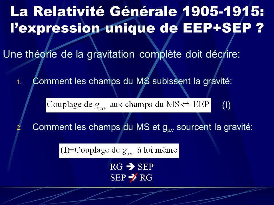 La Relativité Générale 1905-1915: lexpression unique de EEP+SEP ? Une théorie de la gravitation complète doit décrire: 1. Comment les champs du MS sub