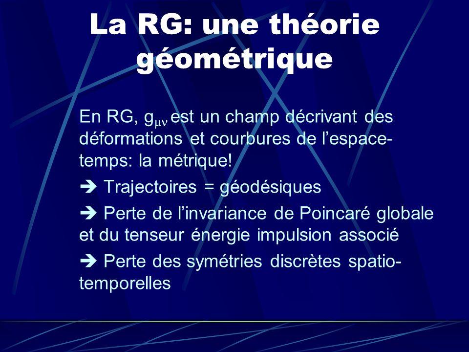 La RG: une théorie géométrique En RG, g est un champ décrivant des déformations et courbures de lespace- temps: la métrique! Trajectoires = géodésique