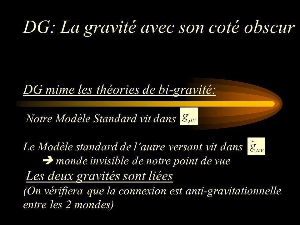 DG: La gravité avec son coté obscur DG mime les théories de bi-gravité: Notre Modèle Standard vit dans Le Modèle standard de lautre versant vit dans monde invisible de notre point de vue Les deux gravités sont liées (On vérifiera que la connexion est anti-gravitationnelle entre les 2 mondes)