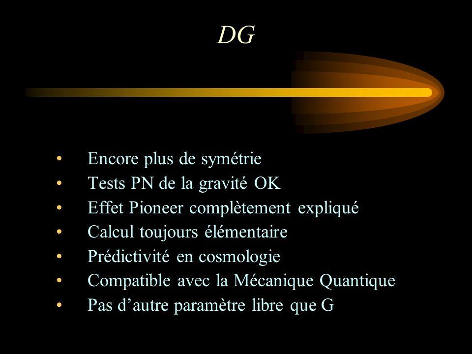 DG Encore plus de symétrie Tests PN de la gravité OK Effet Pioneer complètement expliqué Calcul toujours élémentaire Prédictivité en cosmologie Compat
