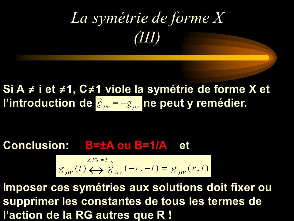 La symétrie de forme X (III) Si A i et 1, C 1 viole la symétrie de forme X et lintroduction de ne peut y remédier. Conclusion: B=±A ou B=1/Aet Imposer
