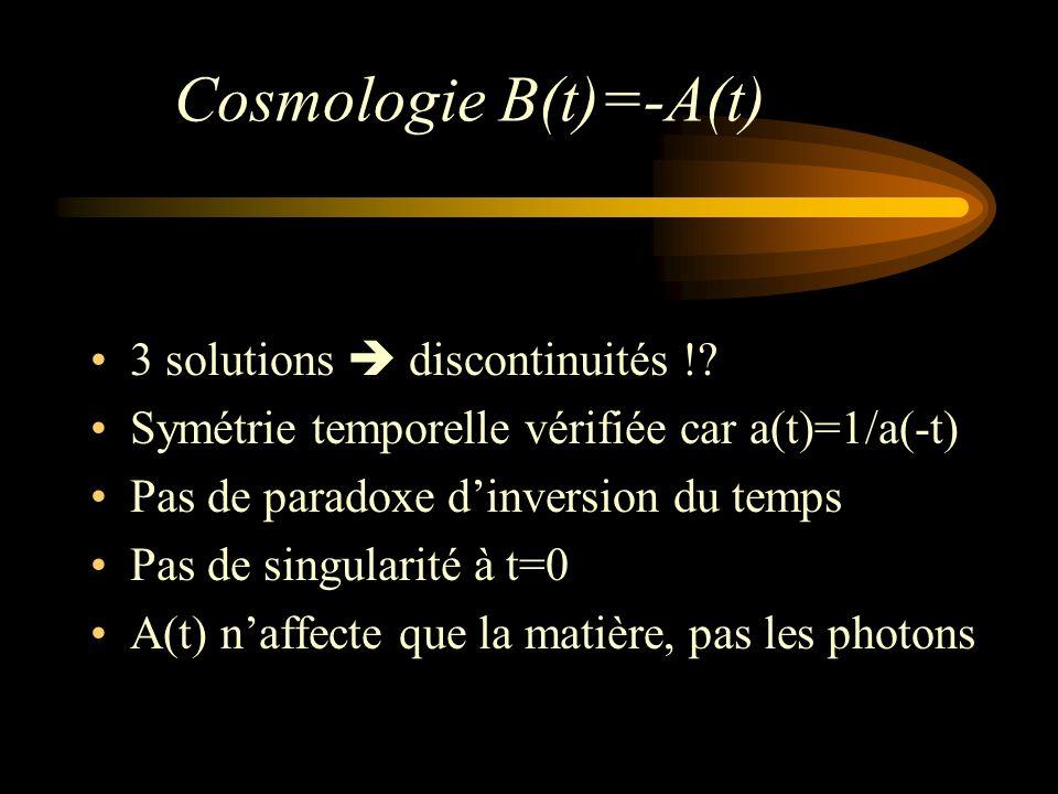Cosmologie B(t)=-A(t) 3 solutions discontinuités !? Symétrie temporelle vérifiée car a(t)=1/a(-t) Pas de paradoxe dinversion du temps Pas de singulari