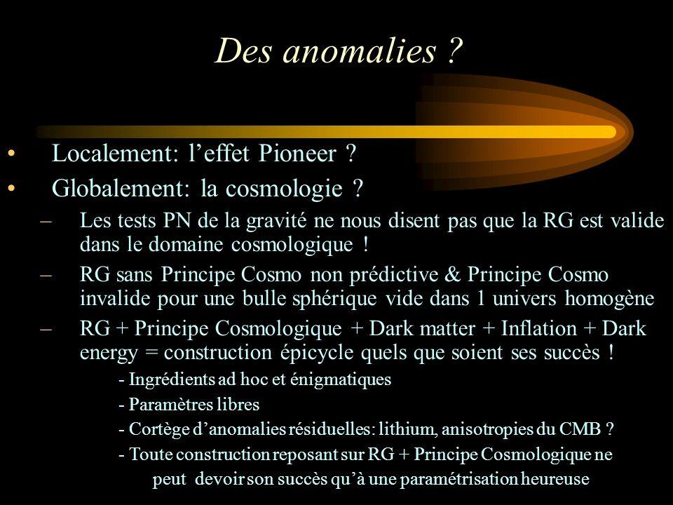 Des anomalies . Localement: leffet Pioneer . Globalement: la cosmologie .