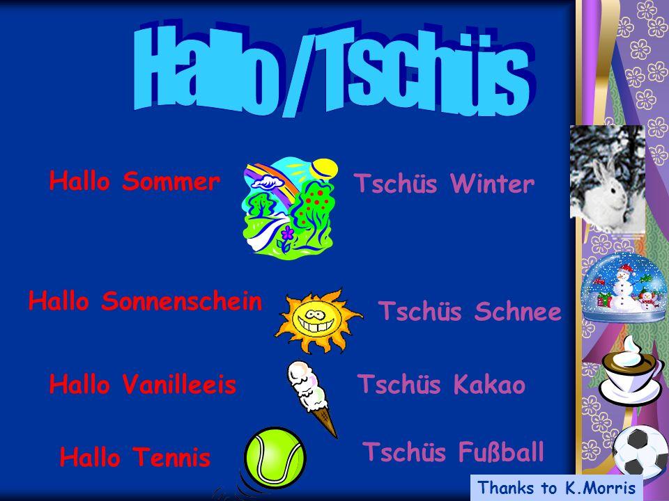 Hallo Sonnenschein Tschüs Schnee Hallo Sommer Tschüs Winter Hallo VanilleeisTschüs Kakao Hallo Tennis Tschüs Fußball Thanks to K.Morris
