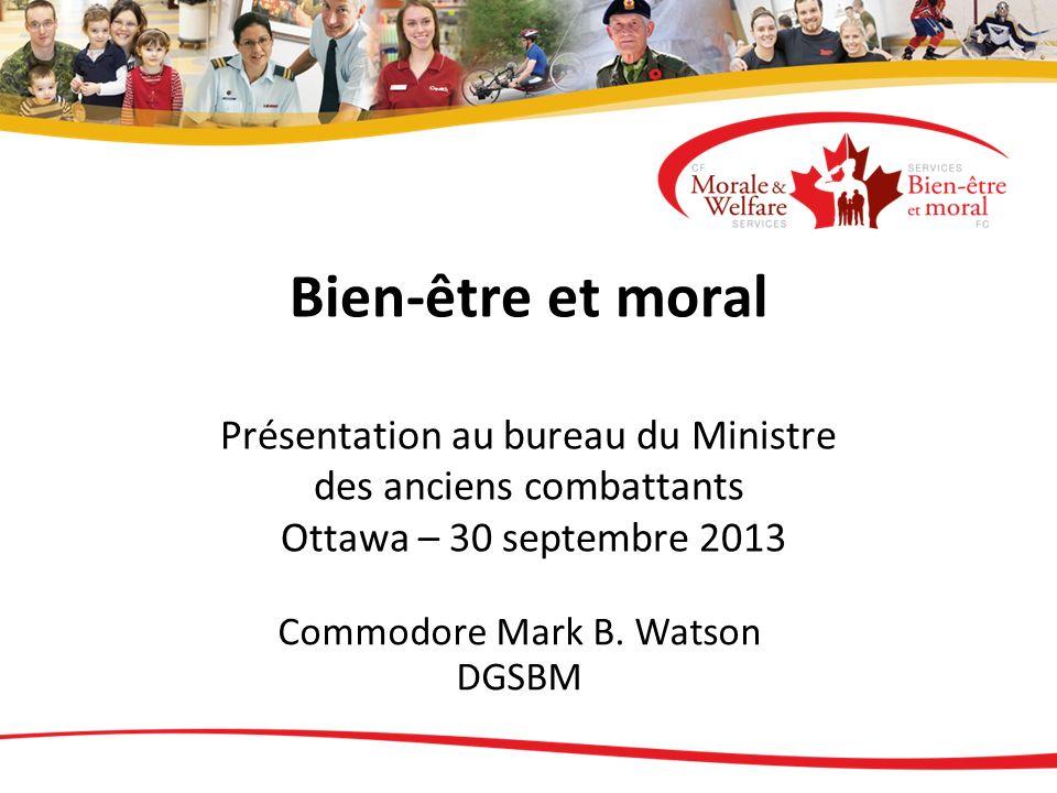 Bien-être et moral Présentation au bureau du Ministre des anciens combattants Ottawa – 30 septembre 2013 Commodore Mark B. Watson DGSBM