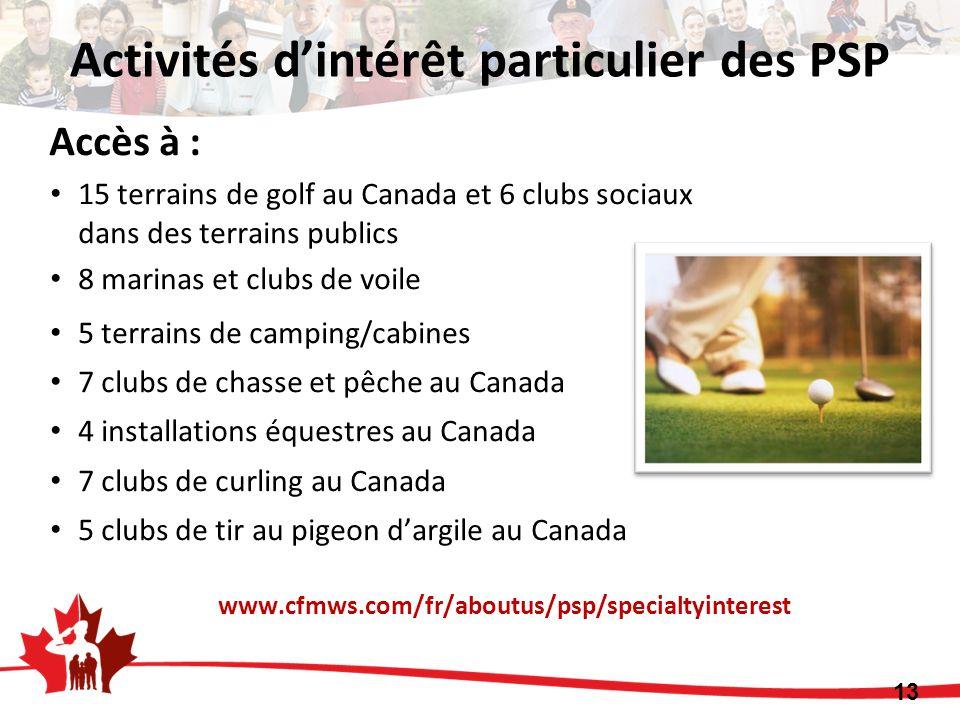 Accès à : 15 terrains de golf au Canada et 6 clubs sociaux dans des terrains publics 8 marinas et clubs de voile 5 terrains de camping/cabines 7 clubs