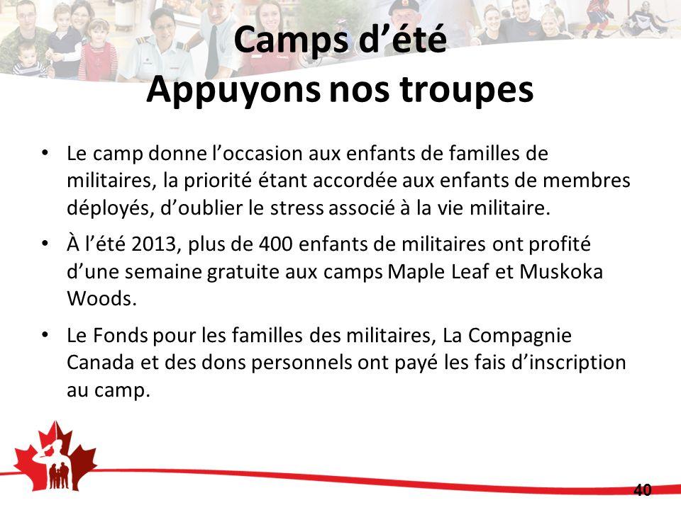 Le camp donne loccasion aux enfants de familles de militaires, la priorité étant accordée aux enfants de membres déployés, doublier le stress associé