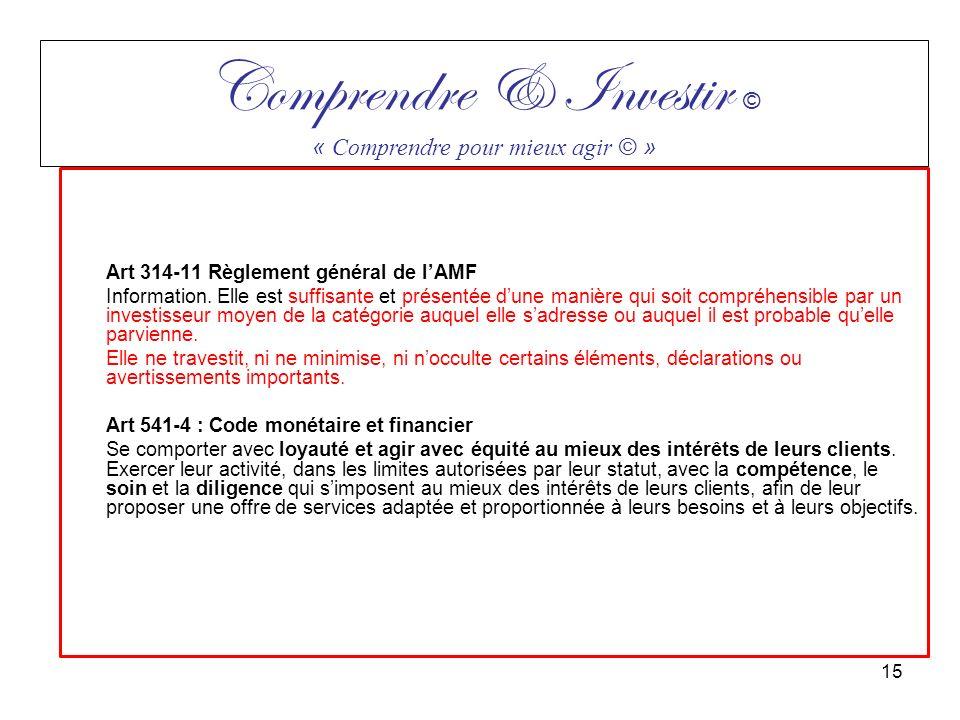 Art 314-11 Règlement général de lAMF Information. Elle est suffisante et présentée dune manière qui soit compréhensible par un investisseur moyen de l