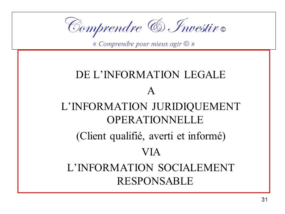 DE LINFORMATION LEGALE A LINFORMATION JURIDIQUEMENT OPERATIONNELLE (Client qualifié, averti et informé) VIA LINFORMATION SOCIALEMENT RESPONSABLE Compr