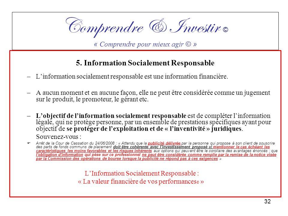 5. Information Socialement Responsable –Linformation socialement responsable est une information financière. –A aucun moment et en aucune façon, elle