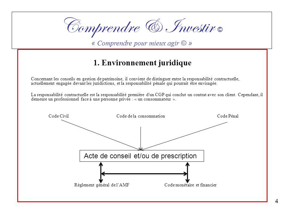 1. Environnement juridique Concernant les conseils en gestion de patrimoine, il convient de distinguer entre la responsabilité contractuelle, actuelle