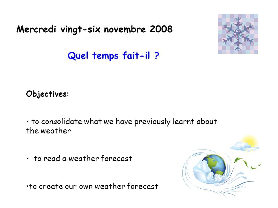 Il y a du soleil dans le Nord de la France.Il neige dans le centre de la France.