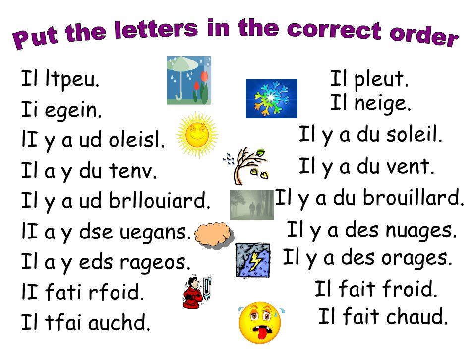Write at least five sentences of your choice according to the following pattern: Il pleut dans le Nord de la France.