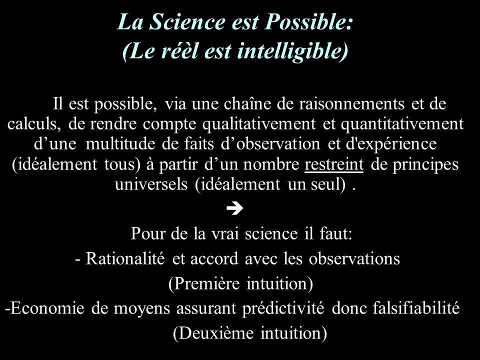 La Science est Possible: (Le réèl est intelligible) Il est possible, via une chaîne de raisonnements et de calculs, de rendre compte qualitativement et quantitativement dune multitude de faits dobservation et d expérience (idéalement tous) à partir dun nombre restreint de principes universels (idéalement un seul).