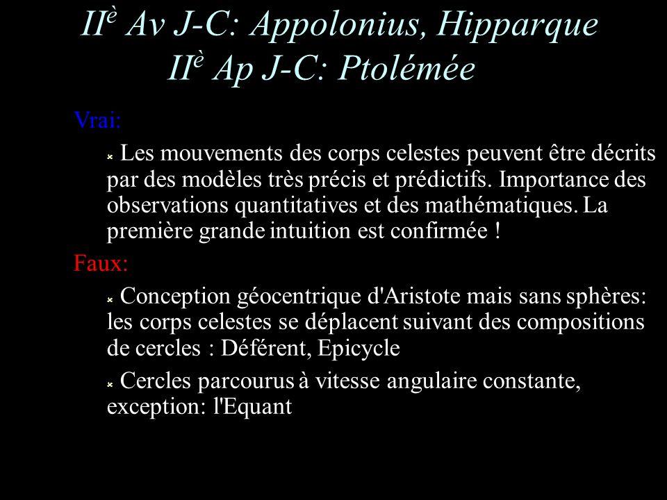 II è Av J-C: Appolonius, Hipparque II è Ap J-C: Ptolémée Vrai: Les mouvements des corps celestes peuvent être décrits par des modèles très précis et prédictifs.