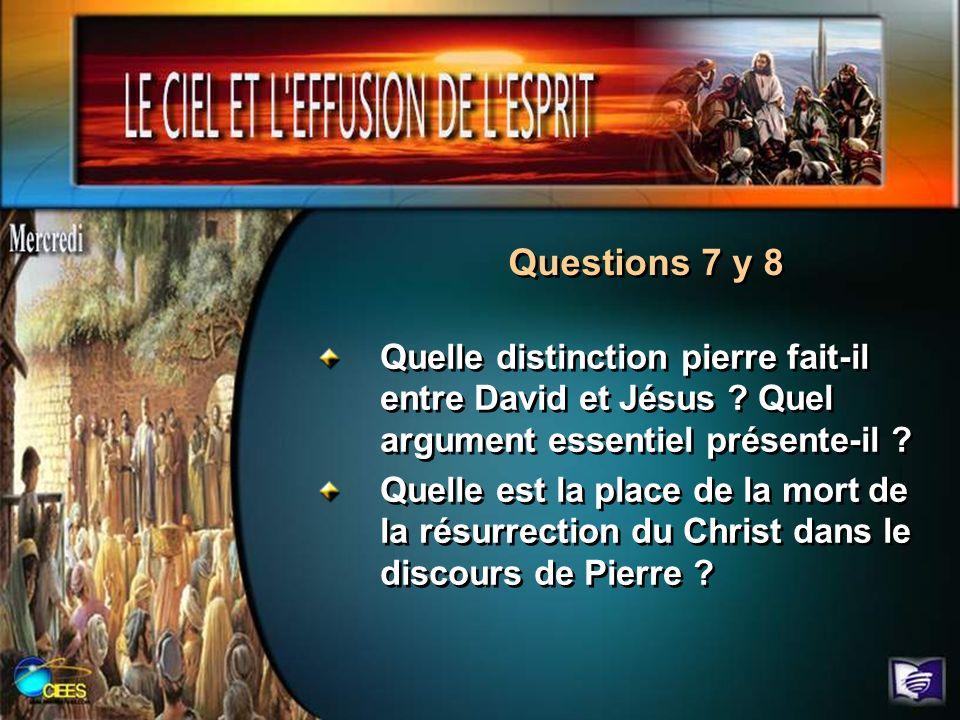 Questions 7 y 8 Quelle distinction pierre fait-il entre David et Jésus ? Quel argument essentiel présente-il ? Quelle est la place de la mort de la ré