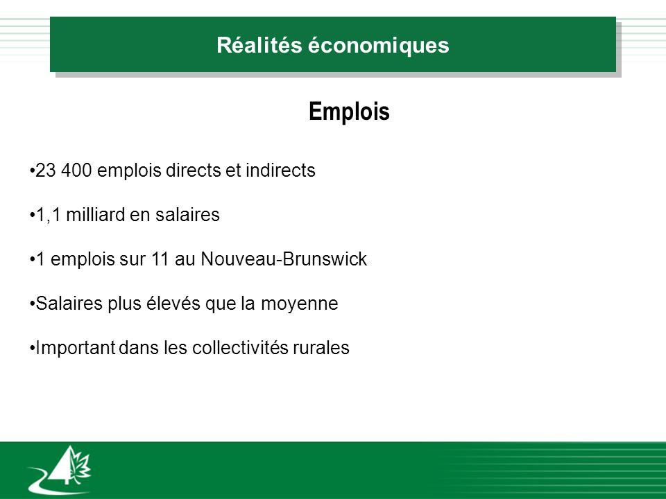 Réalités économiques 23 400 emplois directs et indirects 1,1 milliard en salaires 1 emplois sur 11 au Nouveau-Brunswick Salaires plus élevés que la moyenne Important dans les collectivités rurales Emplois