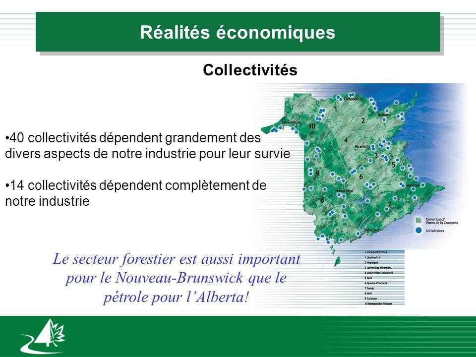Réalités économiques Collectivités 40 collectivités dépendent grandement des divers aspects de notre industrie pour leur survie 14 collectivités dépendent complètement de notre industrie Le secteur forestier est aussi important pour le Nouveau-Brunswick que le pétrole pour lAlberta!