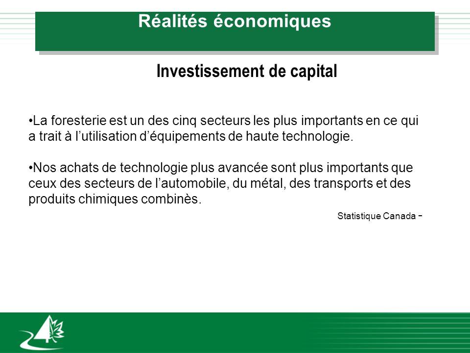 Réalités économiques Investissement de capital La foresterie est un des cinq secteurs les plus importants en ce qui a trait à lutilisation déquipements de haute technologie.