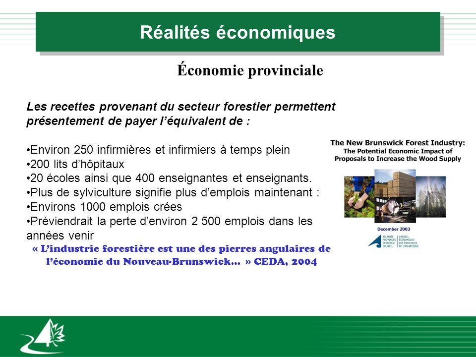 Réalités économiques Économie provinciale Les recettes provenant du secteur forestier permettent présentement de payer léquivalent de : Environ 250 in