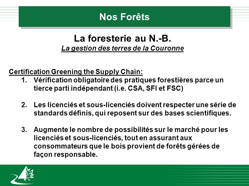 Nos Forêts La foresterie au N.-B. La gestion des terres de la Couronne Certification Greening the Supply Chain: 1.Vérification obligatoire des pratiqu